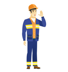 asian builder calling for help vector image vector image