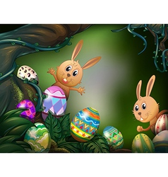 Easter eggs hidden in the jungle vector image