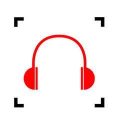 headphones sign red icon vector image