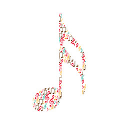 Semiquaver note color silhouette formed by musical vector