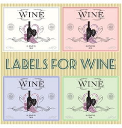 set of labels for wine with bunch grapes and barre vector image vector image