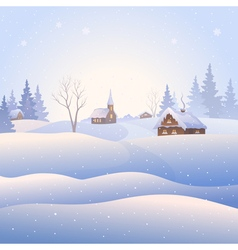 Snowscape square background vector image vector image