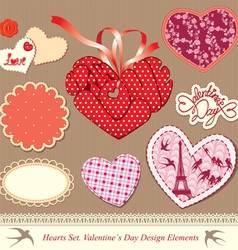 valentines day design elements - different hearts vector image vector image