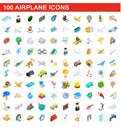 100 airplane icons set isometric 3d style vector image