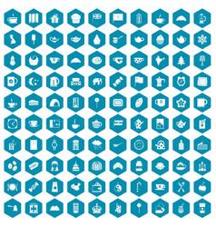 100 tea cup icons sapphirine violet vector image