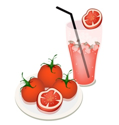 A Glass of Tomatoes Juice with Tomatoes vector image