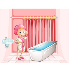 A young lady taking a bath in the bathroom vector image
