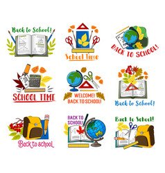 Back to school lesson stationery icons vector