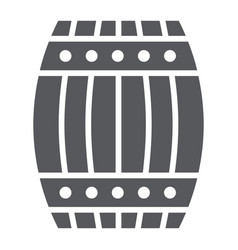 Barrel glyph icon container and storage wooden vector