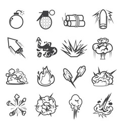 Bomb icon set 2 vector