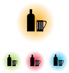 Bottle and Glass100 vector image