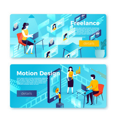 bright banners - freelancer motion studio vector image