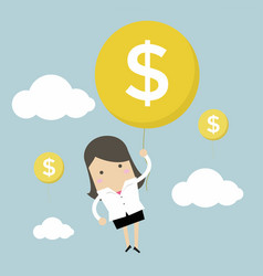 businesswoman hanging money dollar sign balloon vector image