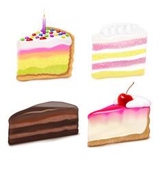 Cake pieces set vector