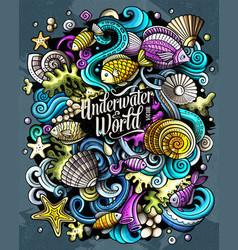 Cartoon doodles underwater world funny vector