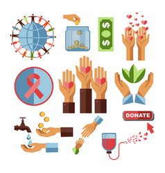 Charity fund and blood donation financial aid and vector