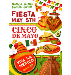 Cinco de mayo party invitation for mexican holiday vector