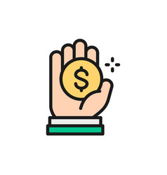 coin in hand money donation charity vector image
