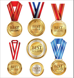 collection of best seller golden medal and label vector image