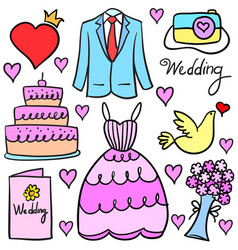 collection stock of wedding element doodles vector image
