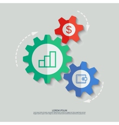 color cogwheels with dollar statistic vector image