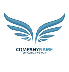 Company name and wings logotype vector