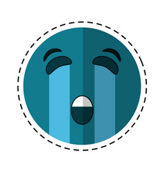Crying emoticon style cut line vector