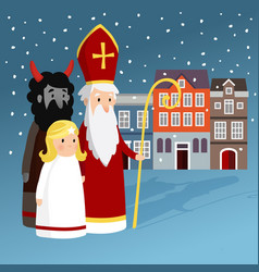 Cute saint nicholas with angel devil old town vector
