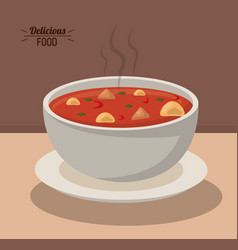 Delicious food bowl soup hot nutrition vegetable vector