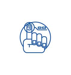finger print line icon concept finger print flat vector image
