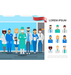 Flat medical staff colorful concept vector