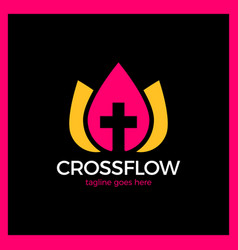 Flower cross logo - church vector