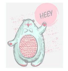 funny cute polar bear with word hey pink cheeks vector image