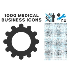 Gear Icon with 1000 Medical Business Symbols vector image vector image