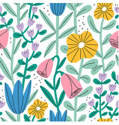 gentle abstract pastel floral garden seamless vector image