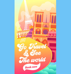 go travel and see the world typography banner vector image