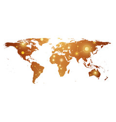 Golden political world map with global technology vector