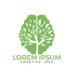 green brain tree logo design vector image