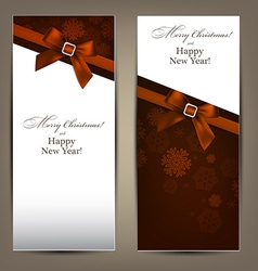 Greeting cards with brown bows vector