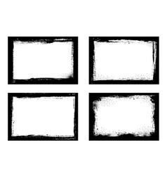 grunge frames isolated black borders set vector image