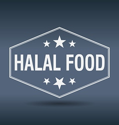 Halal food hexagonal white vintage retro style vector