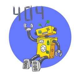 hand drawn brocken robot 404 error page vector image