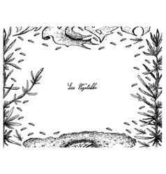 Hand drawn frame of nori and hijiki seaweed vector