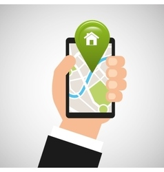 Hand holds phone navigation app home vector