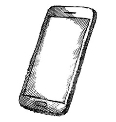 Handdrawn sketch of mobile phone with shadow vector image