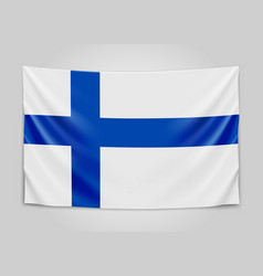 Hanging flag of finland republic of finland vector