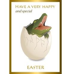 Happy Easter funny card Crocodile egg vector image