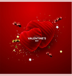 happy valentines day realistic 3d decoration vector image