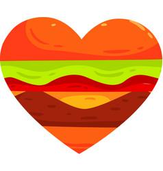 Heart hamburger walnuts hand vector