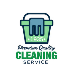 Home and apartment cleaning service logo in linear vector
